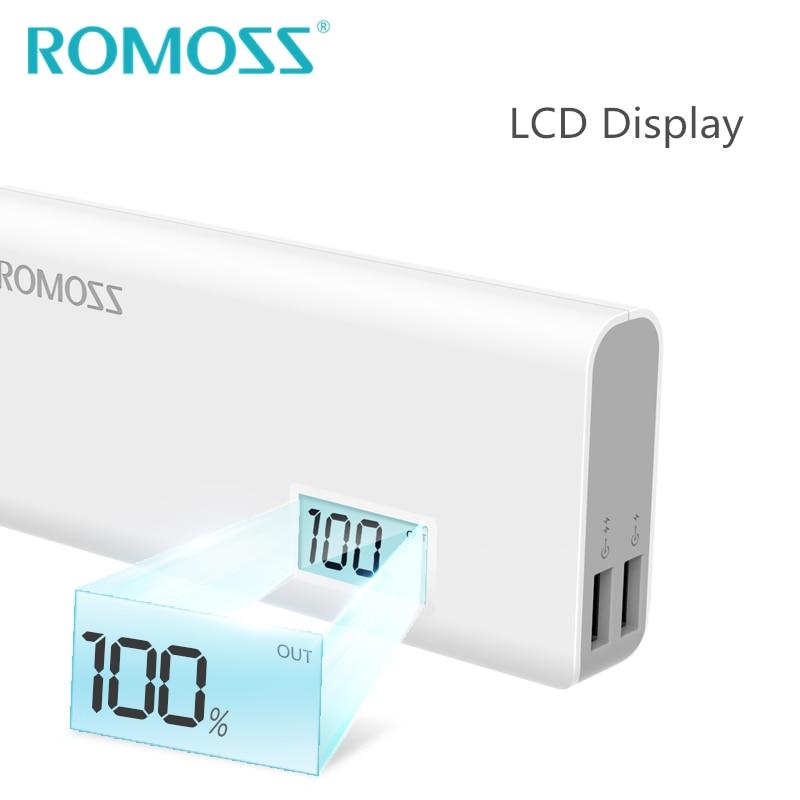 ROMOSS Sense 4Plus 10000mAh banco de energía respaldo externo 18650 batería Powerbank cargador de energía 2 salida USB