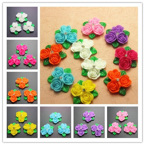 10PCS 30mm Cute Resin Three-Flower With Rhinestone Flatback Cabochon DIY Scrapbooking Decorative Craft Making