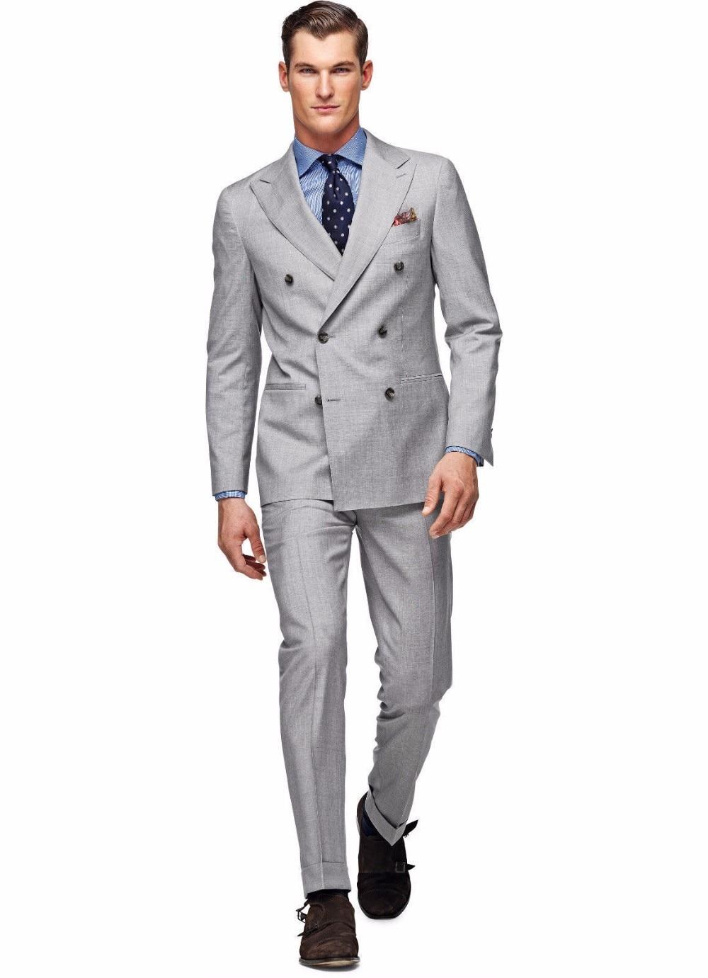 Chaqueta de esmoquin gris claro para hombre (chaqueta + Pantalones + corbata + pañuelos) personalizada para hombre