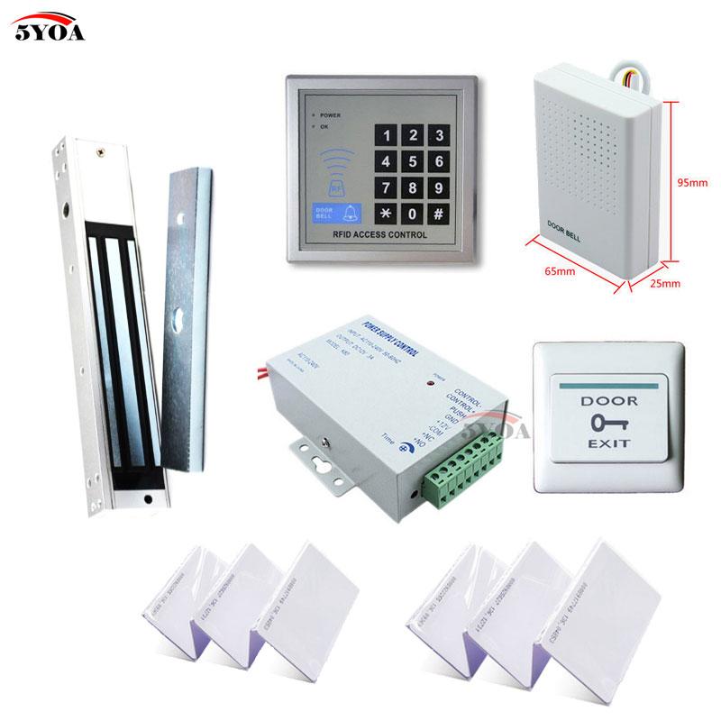Система контроля доступа RFID, набор деревянных дверей + Электрический магнитный замок + клавиша ID-карты + поставщик питания + кнопка выхода + дверной звонок