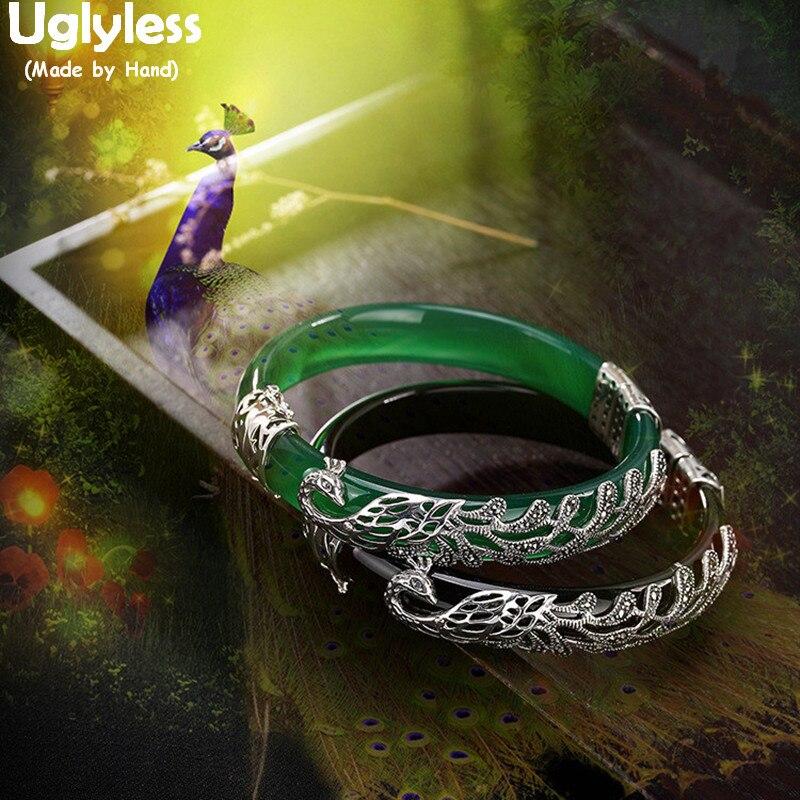 Uglyless 100% Real sólida plata 925 brazaletes de pavo Real para las mujeres negro ágata brazaletes Jade pulseras Phoenix joyería fina