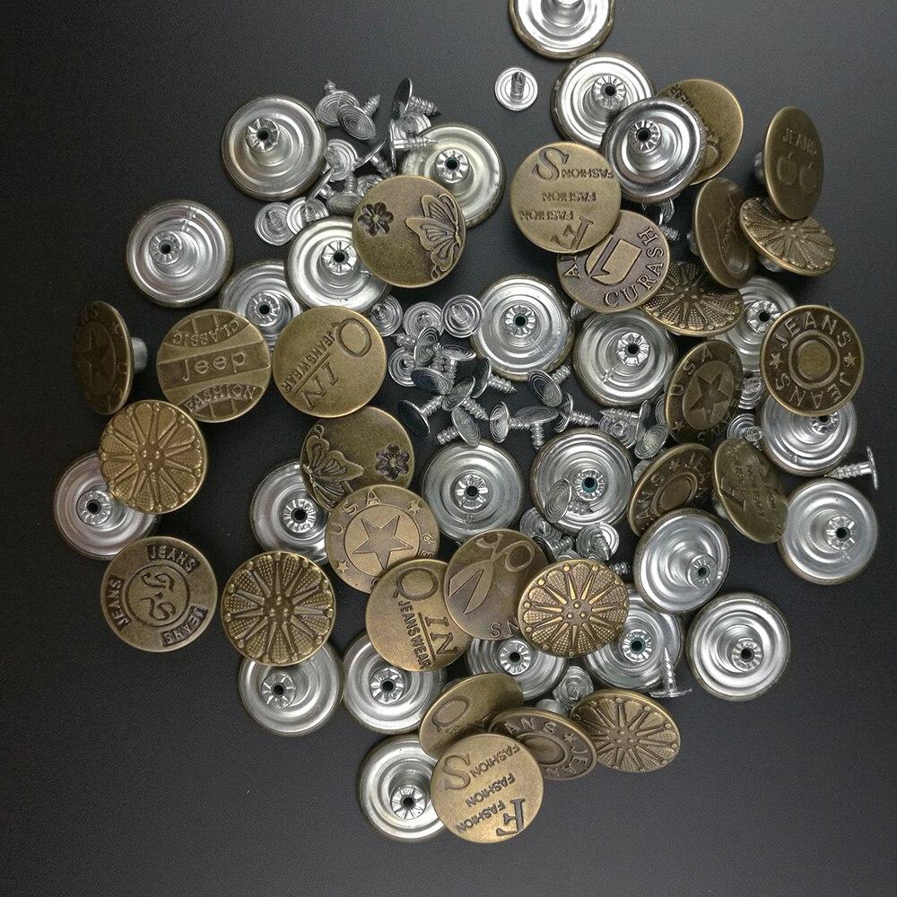10 pçs metal snap prendedor botões bronze metal jeans botão haste para calças de vestuário roupas costura accseeories artesanal