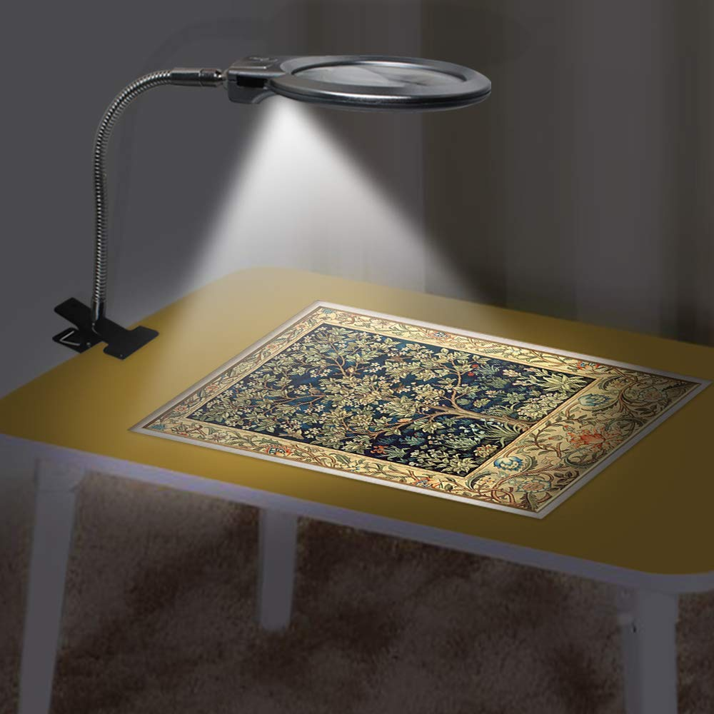 Outils de peinture au diamant nouvelle loupe éclairée pince-on bureau LED lampe de bureau lecture grande lentille loupe avec pince