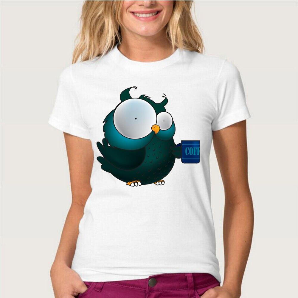 Женская футболка с коротким рукавом Ameitte, белая футболка с забавным принтом в виде животных, с принтом совы, кофе, лето 2019