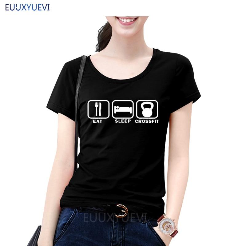Eat Sleep t-shirt verano estilo mujeres de manga corta de algodón divertida mujer Camisetas ropa femenina EUU-181