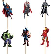 72 stücke Avengers hero Polizei hund Captain America Batman Hulk Cupcake Topper Picks boy Kinder geburtstag party evnent party dekorationen