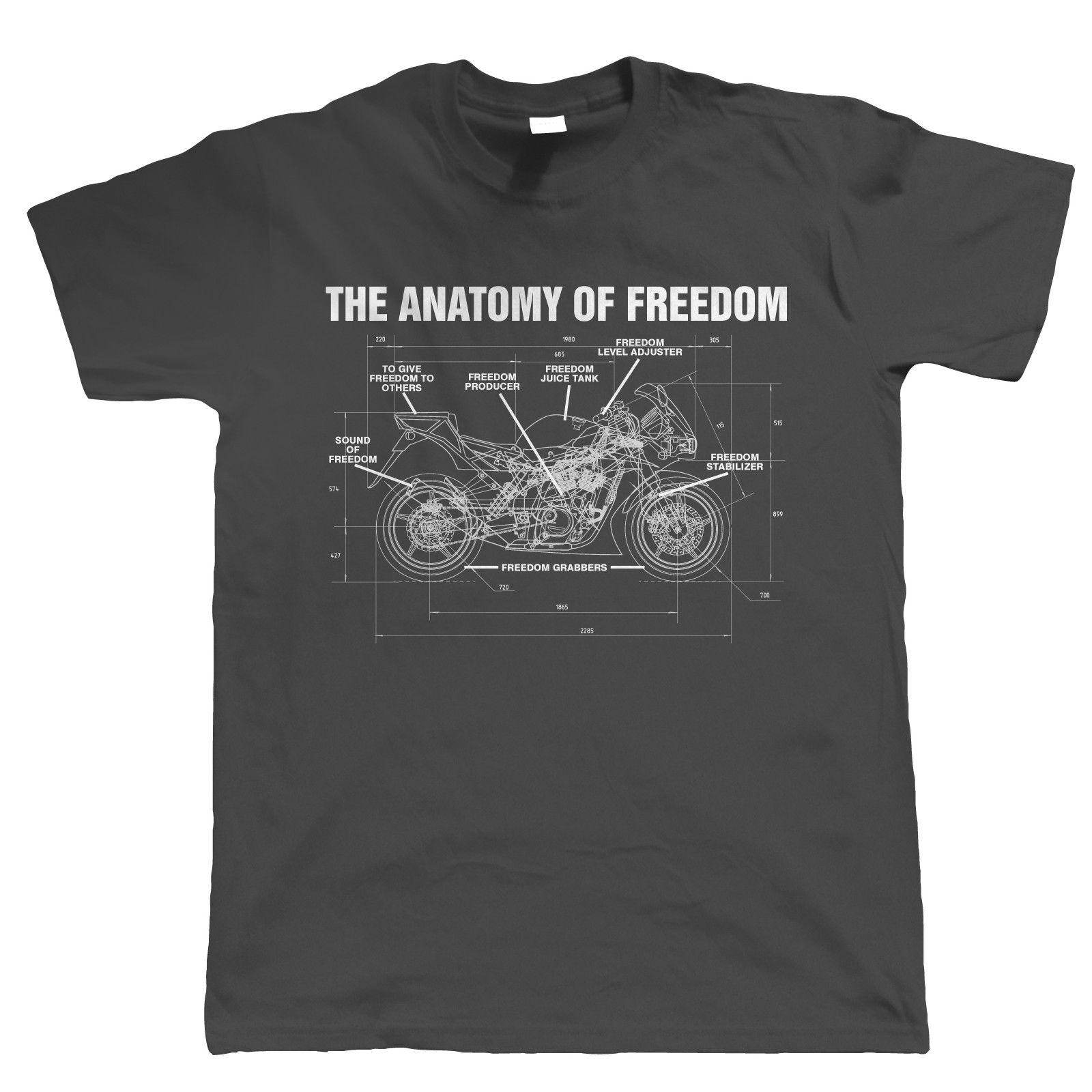 Hot New 2019 Summer Fashion Anatomy of Freedom Mens Biker T Shirt - Superbike Motorcycle TT Gift for Him Dad Tee Shirt