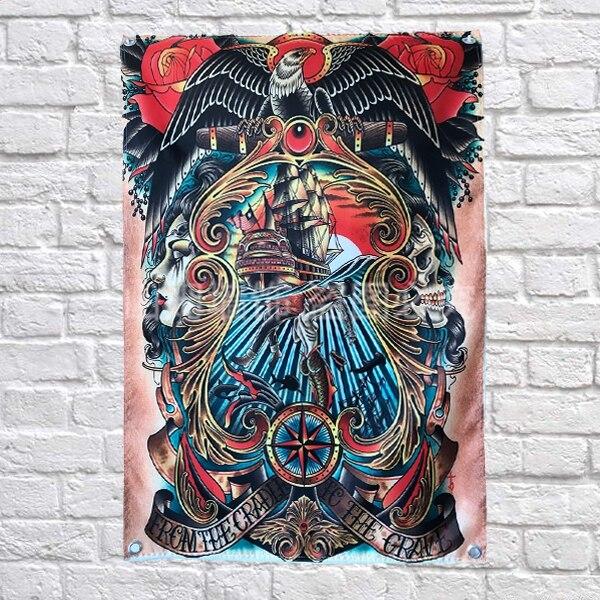 Bandera del cartel de Arte de tatuaje japonés con diseño de águila, bandera colgante para decoración del hogar, 4 elementos en las esquinas 3x5 pies, 144cm x 96cm