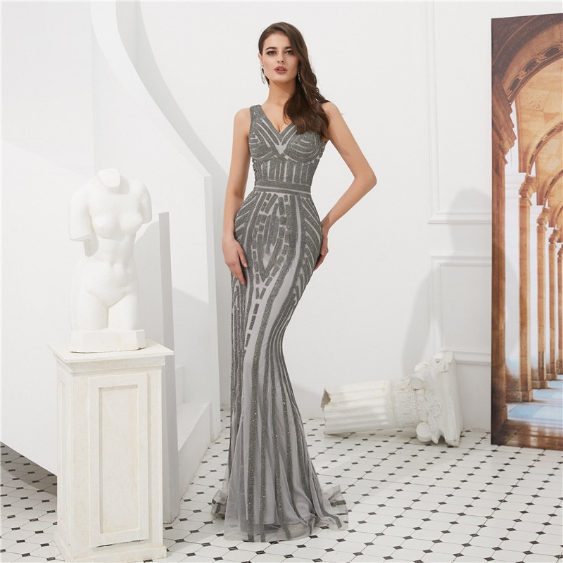 Luxury V-Neck Sleeveless Appliques Striped Floor Length Mermaid Party Dress Robe de soiree Fishtail Vestido de noche 65308