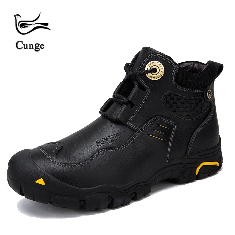 Zapatos de senderismo de marca cunge para hombre, zapatos de cuero de invierno muy cálidas, botas de nieve impermeables, zapatos de ocio Retro para hombres de piel de vaca hechos a mano