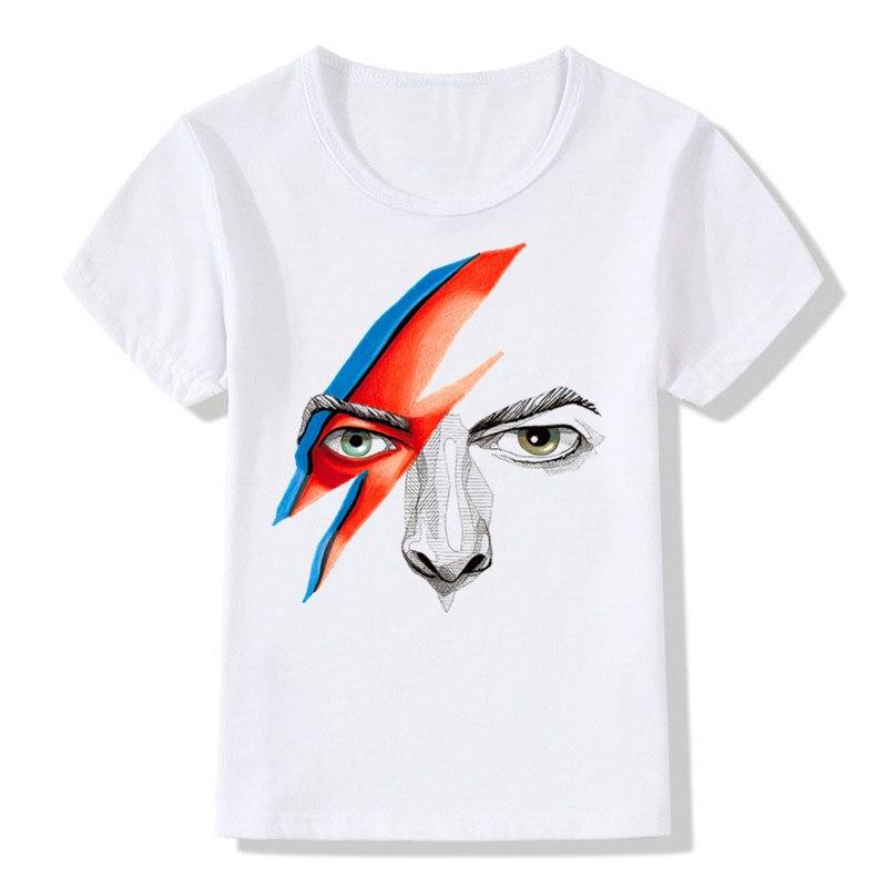 Chico y Chica impresión Bowie Rock and Roll David Bowie Ziggy Stardust de moda Vintage camiseta niños camisetas niños Tops ropa de bebé... HKP515