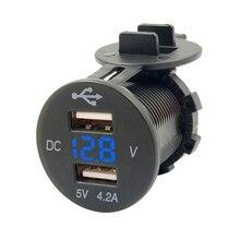 Cigarette Lighter Splitter Auto Power Adapter Outlet 12V LED Dual USB 2 Port Car Phone Charger With DC Voltmeter Digital Socket