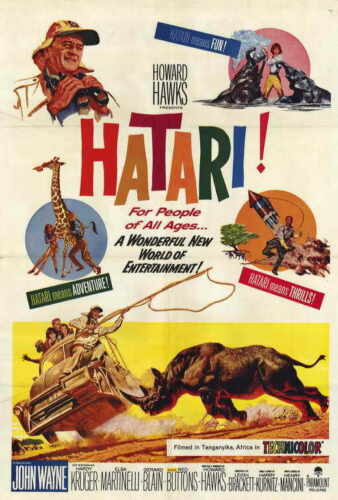 HATARI Movie John Wayne Elsa Martinelli Red Buttons Hardy Kruger SILK POSTER Wall painting