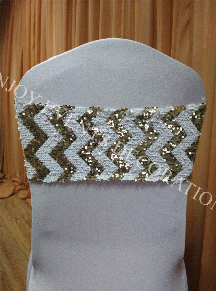 40 pcs YHA # 63 light gold chevron lantejoulas luxo cadeira band para qualquer chair voltar decor