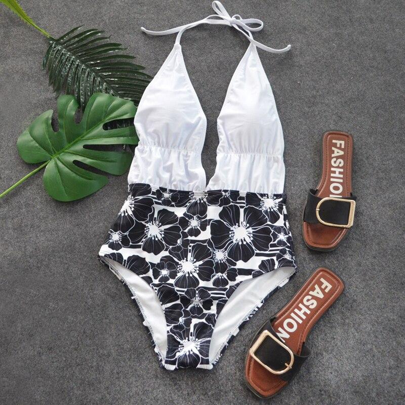 Fortunes young and vigor 프린트 원피스 수영복 여름 섹시한 수영복 숙녀 끈 팬티 deep-v 플러스 사이즈 비치 수영복