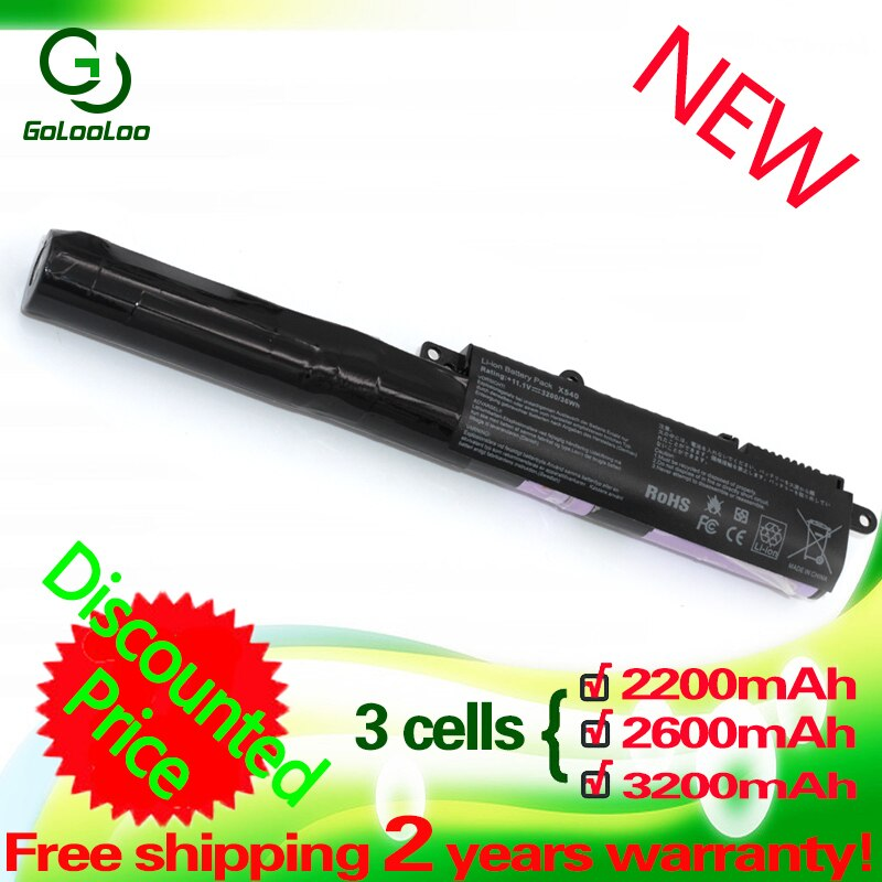 Golooloo 3 células bateria do portátil para ASUS A31N1519 F540SC R540L X540SA R540LA X540SC R540LJ X540LJ F540UP7200 X540S