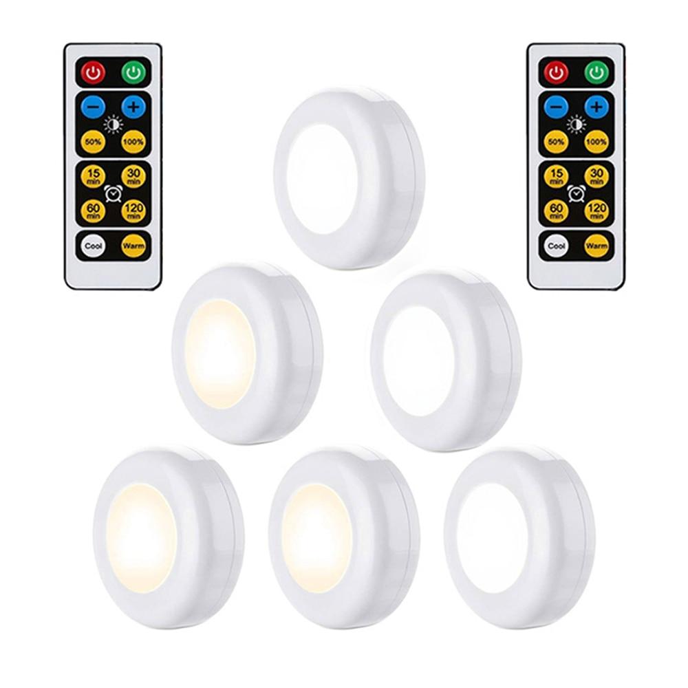 Blanc chaud + blanc Double couleur Dimmable capteur tactile LED sous armoires lumières sans fil LED Puck lumières led placard cuisine lumières