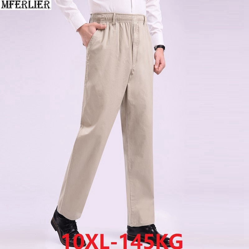 Pantalones sencillos de verano para hombre, de talle alto, de talla grande, 6XL, 8XL, 9XL, 10XL, pantalones elásticos para hombre, cintura elástica, pantalón delgado para el hogar, color azul