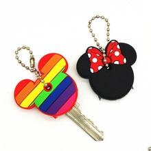 2Pcs/set Cute Cartoon Minnie Monster Silicone Keychain For Women/Man Key Cover Key Caps Key Ring Key Holder Kids Gift Key chains