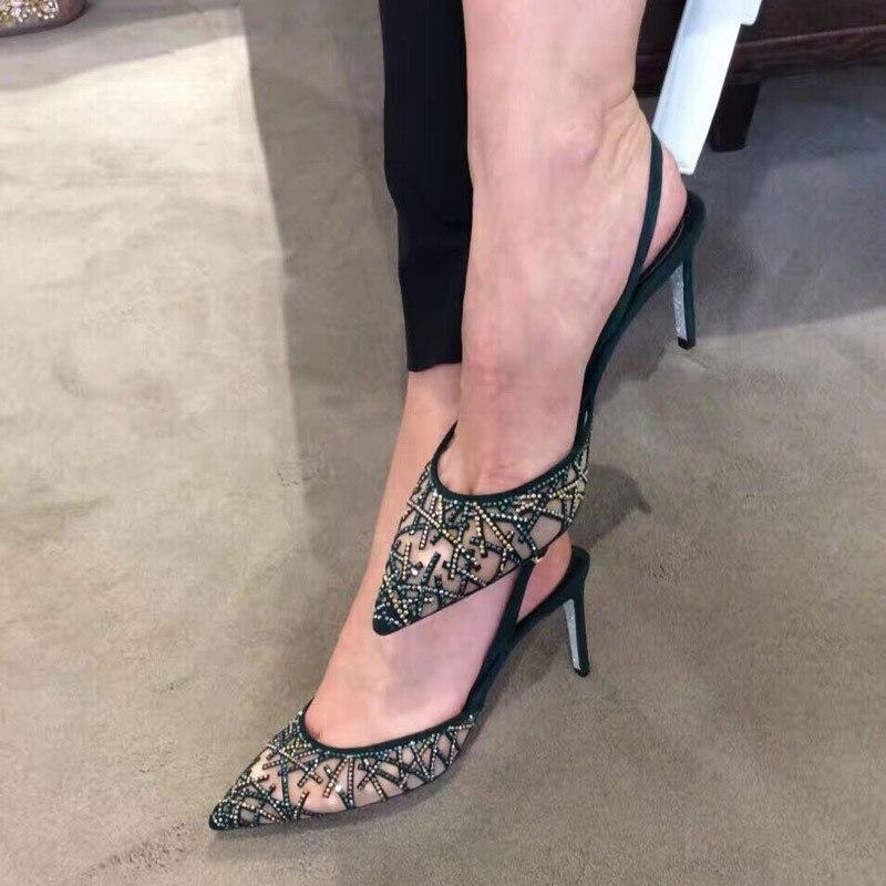 Zapatos de tacón de diamante para boda, zapatos de tacón de aguja de cristal para mujer, zapatos de novia con punta puntiaguda, zapatos de diamantes de imitación brillantes para mujer