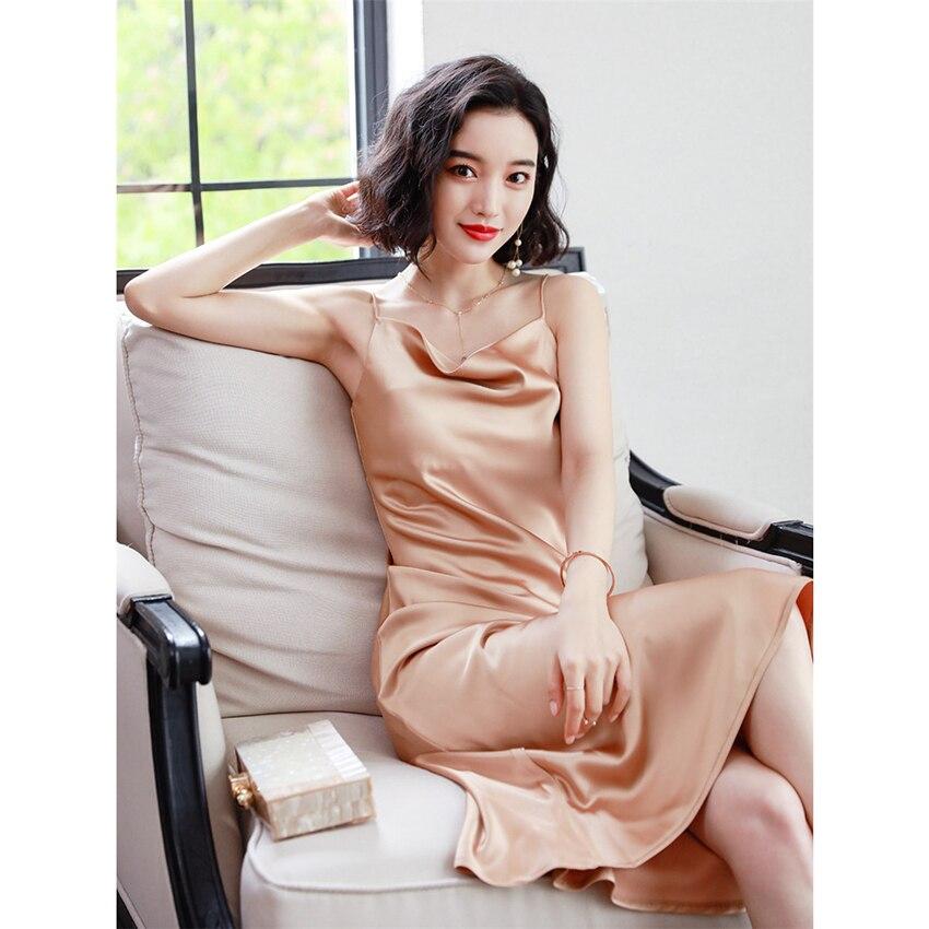 Vestido de verano para mujer, vestido de seda rojo elegante sin mangas, vestidos de fiesta sexis con tirantes finos, vestido de moda de alta calidad para mujer