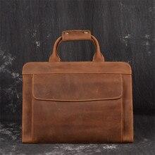 Nesitu haute qualité Vintage marron A4 véritable Crazy Horse cuir hommes portefeuille bureau porte-documents affaires sacs de messager M019