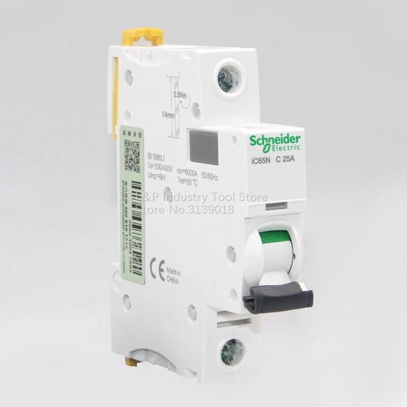 100% Original Novo Tipo C Schneider Acti9 IC65N 1 P C25A A9F18125 Vácuo Mini Disjuntor MCB Boa Qualidade