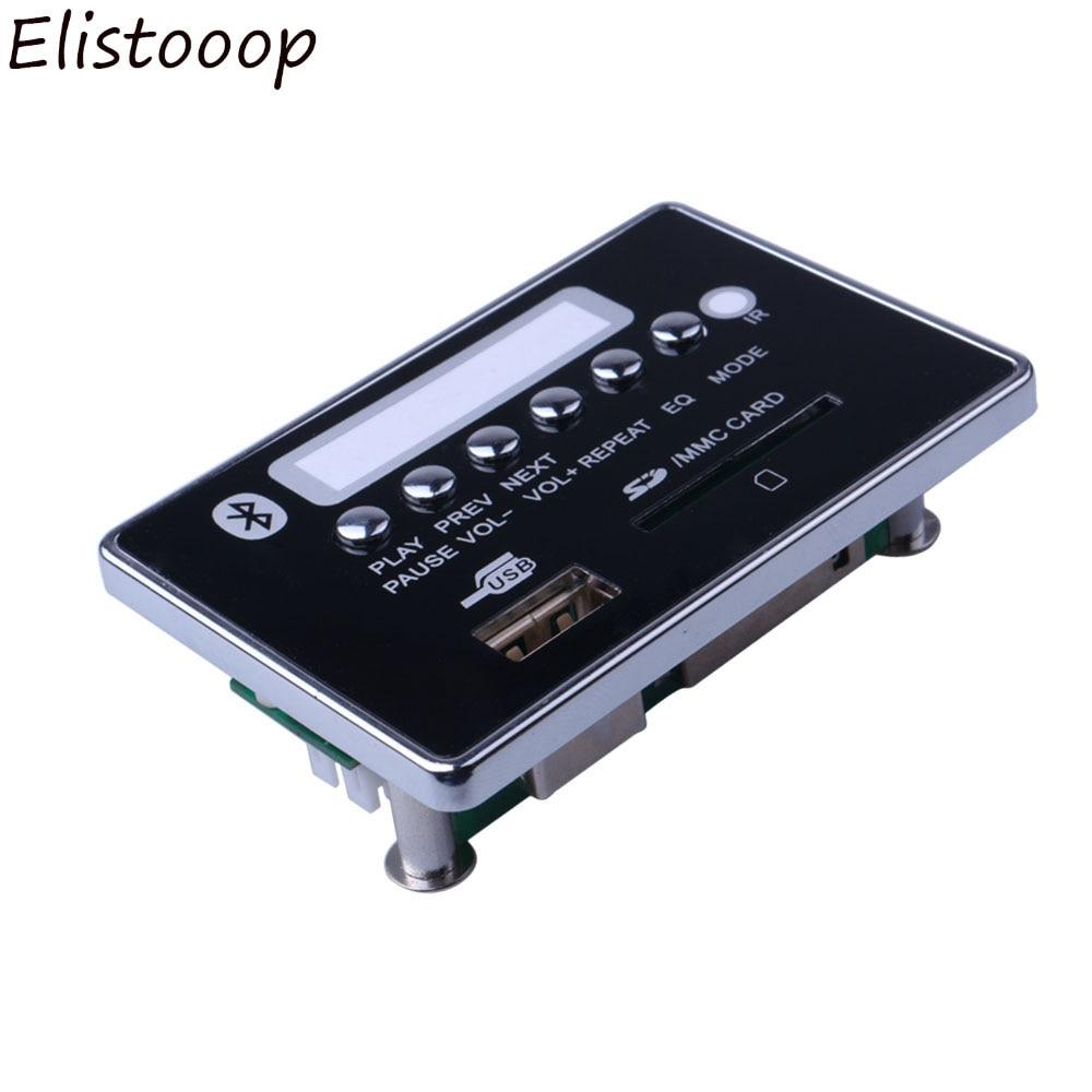Elistooop USB FM Aux Radio Bluetooth placa decodificadora de MP3 para coche USB MP3 Player Control remoto integrado USB FM Aux Radio
