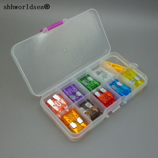 Shhworldsea estándar (fusible) medio estándar caja de fusibles de cuchilla Auto 1A 2A 3A 5A 7.5A 10A 15A 20A 25A 30A 35A 40A