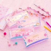 Pink petal Cherry blossoms laser PVC transparent pencil case storage bag korean stationery school pencil cases for girl