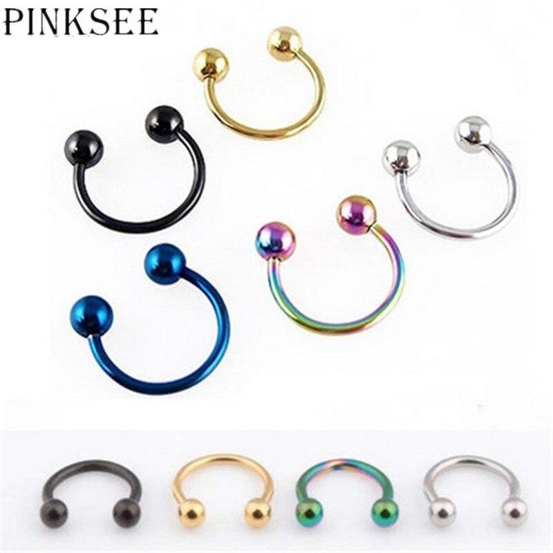 Piercing para el cuerpo de titanio, anillo hipoalergénico de moda de 5 uds. De ceja de acero inoxidable, nariz, labio, Tragus