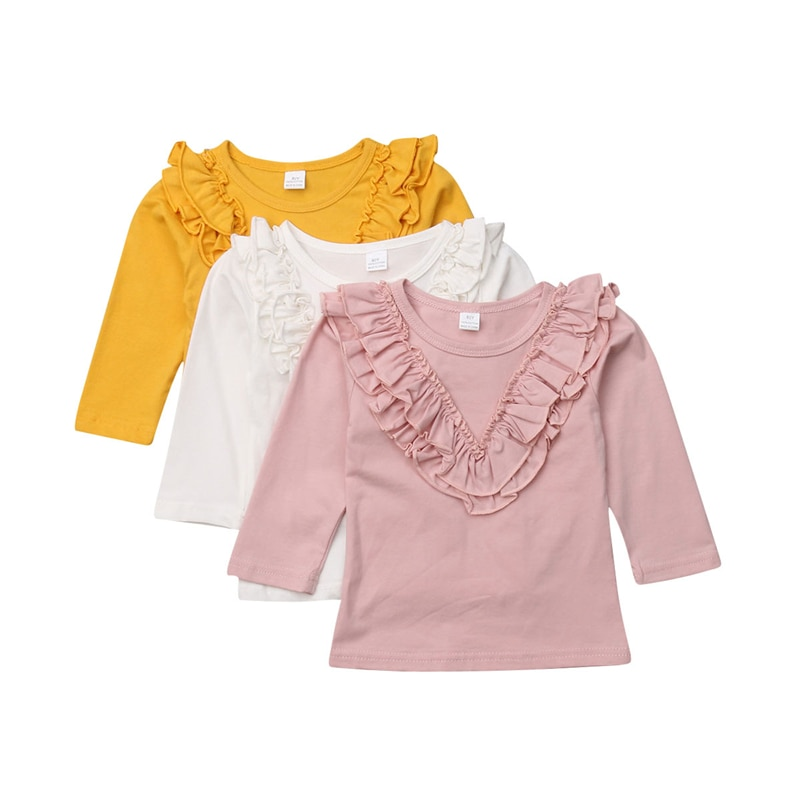 sweet girls t shirt summer short sleeve girl blouses kids cute lace ruffle cotton tops baby clothes 1 6 years h0124 New Arrival Girls Blouses Baby Girl Clothing Ruffle Baby Cotton Blouses Long Sleeve Tops Children Clothes Kids Blouse Girls Tops