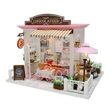 Nouveau bricolage en bois maison de poupée jouet Miniature boîte Puzzle maison de poupée bricolage Kit maison de poupée meubles café-restaurant modèle cadeau jouet pour les enfants