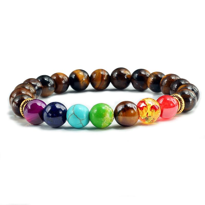 8 estilo 7 chakra cura frisado pulseiras de pedra natural yoga feminino pulseira vintage buda energia pulseiras jóias presentes para homem