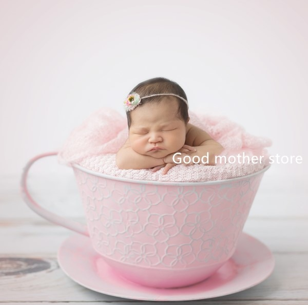 Baby Photography Props Iron Basket Tea Cup Fotografia Accessories Infantil Toddler Studio Shooting Photo Props Shower Gift
