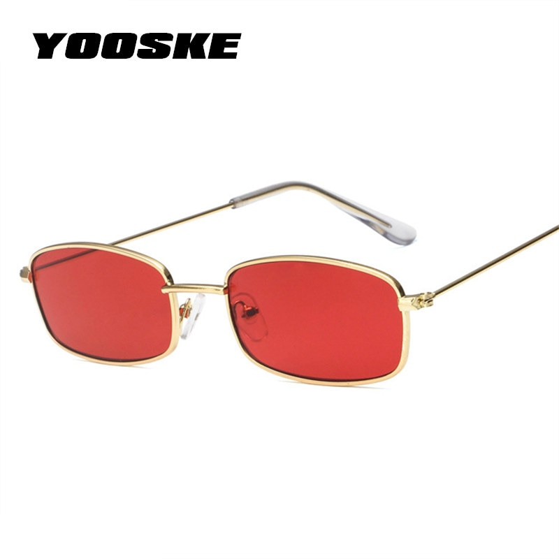 YOOSKE Small Square Sunglasses Women Men Brand Designer Vintage Gold Clear Sun Glasses Unisex Couple