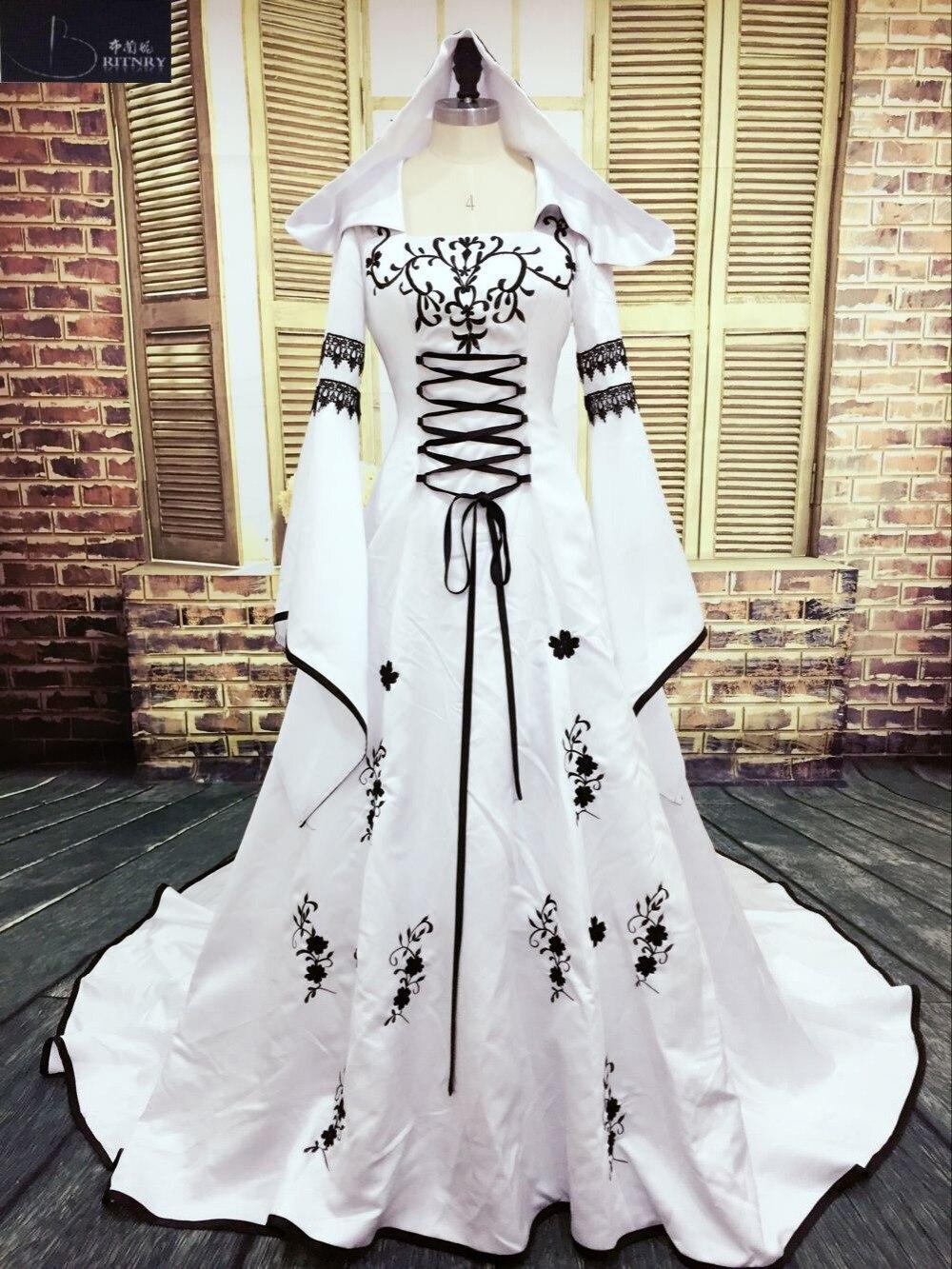 Vestido De boda Medieval, vestido De novia personalizado, vestido De novia bordado, línea blanca y negra, vestido De novia De satén