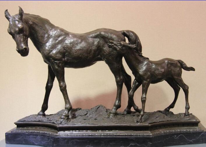 Arte occidental Puro Cobre de Bronce y Mármol Potro de Caballo Pony Arte Escultura Estatua
