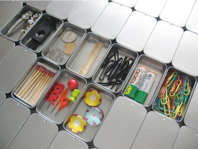 DHL 100pcs Plain silver tin box 9.4cm x 5.9cm x 2.1cm, rectangle tea candy business card usb storage box case SL5015