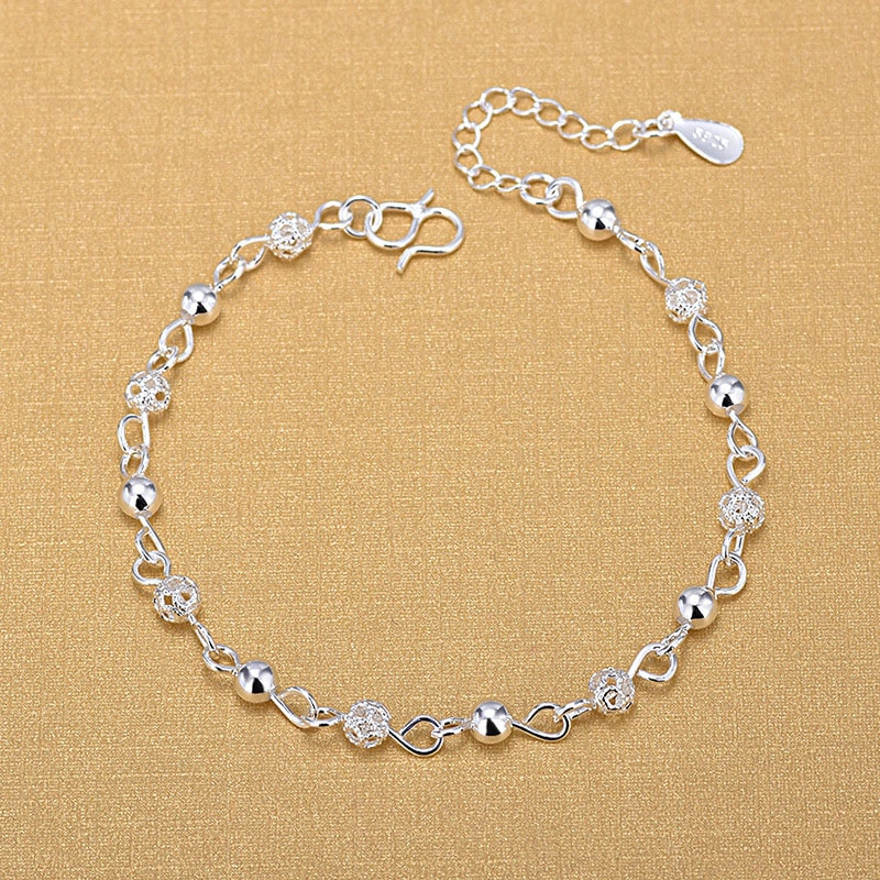 Silver Plated Anklets 925 Fashion Jewelry Hollow Beads Anklet for Women Girls Friend Foot Barefoot Leg
