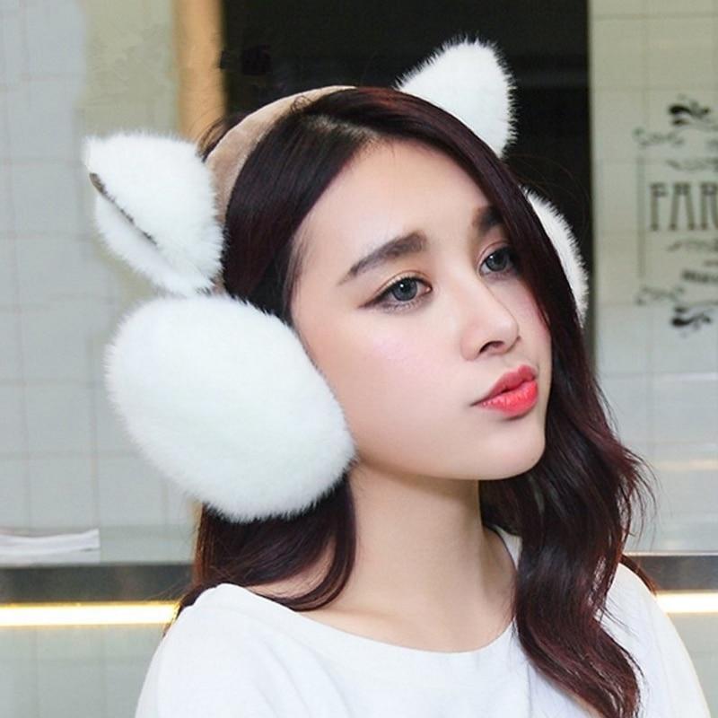 SuperB&G плюшевые Женская зимняя обувь Earmuff теплый наушники для девочек наушники искусственного меха кролика уха дизайн защита ушей наушники