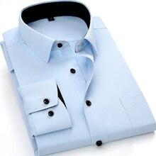 Camisa de manga larga informal de negocios para hombre, camisas inteligentes blancas, azules y negras para hombre, ropa de Ropa de Trabajo ajustada para hombre