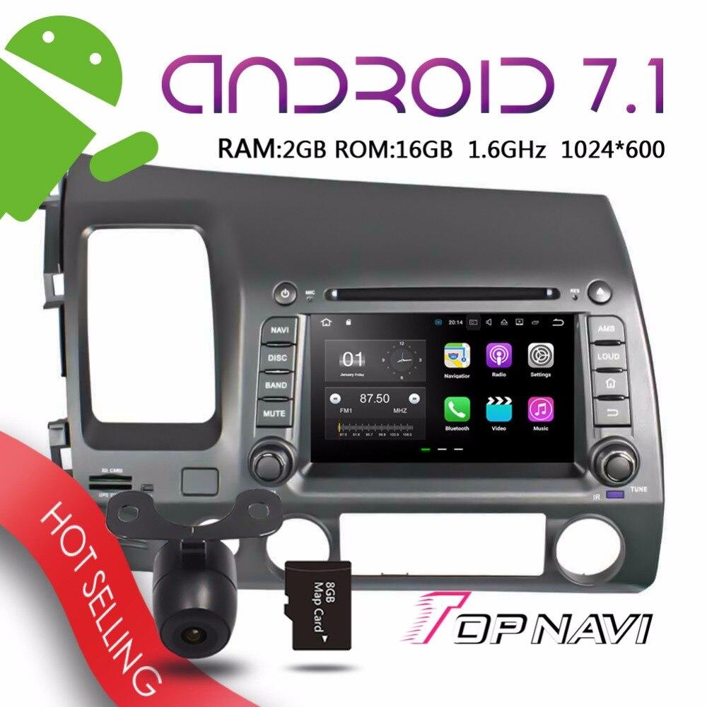 "Topnavi 7 ""Auto estéreo para Honda Civic 2006, 2007, 2008, 2009, 2010, 2011 Bluetooth dispositivo de control remoto Wifi reproductores Multimedia"