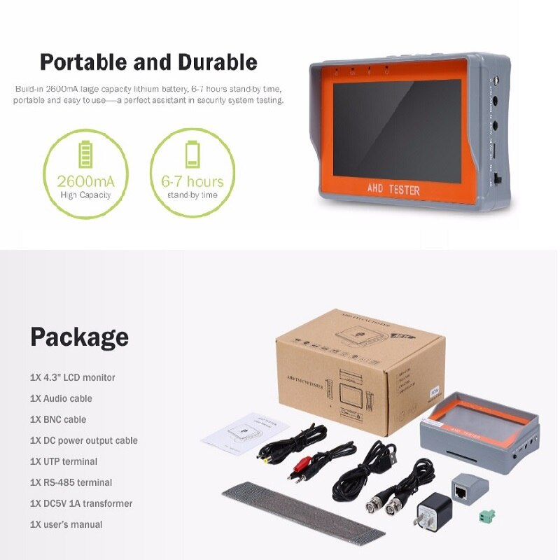 4.3 Inch HD AHD CCTV Tester Monitor AHD 1080P Analog Camera PTZ UTP Cable Tester 12V1A Output enlarge