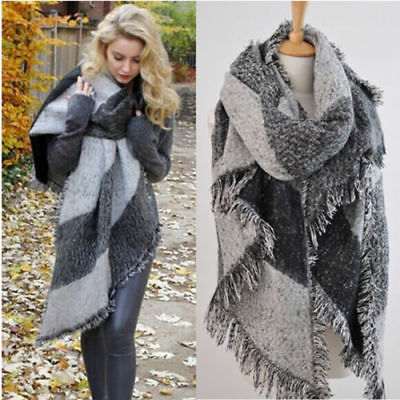 Fashion Large Scarves Women Long Cashmere Winter Wool Blend Soft Warm Plaid Scarf Wrap Shawl Plaid S
