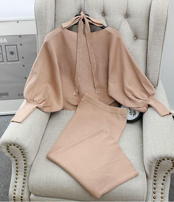 Mulheres graciosas blusas soltas saias outfits sólido batwing manga trajes feminino mulher de malha camisola topos saia 2 pçs conjuntos