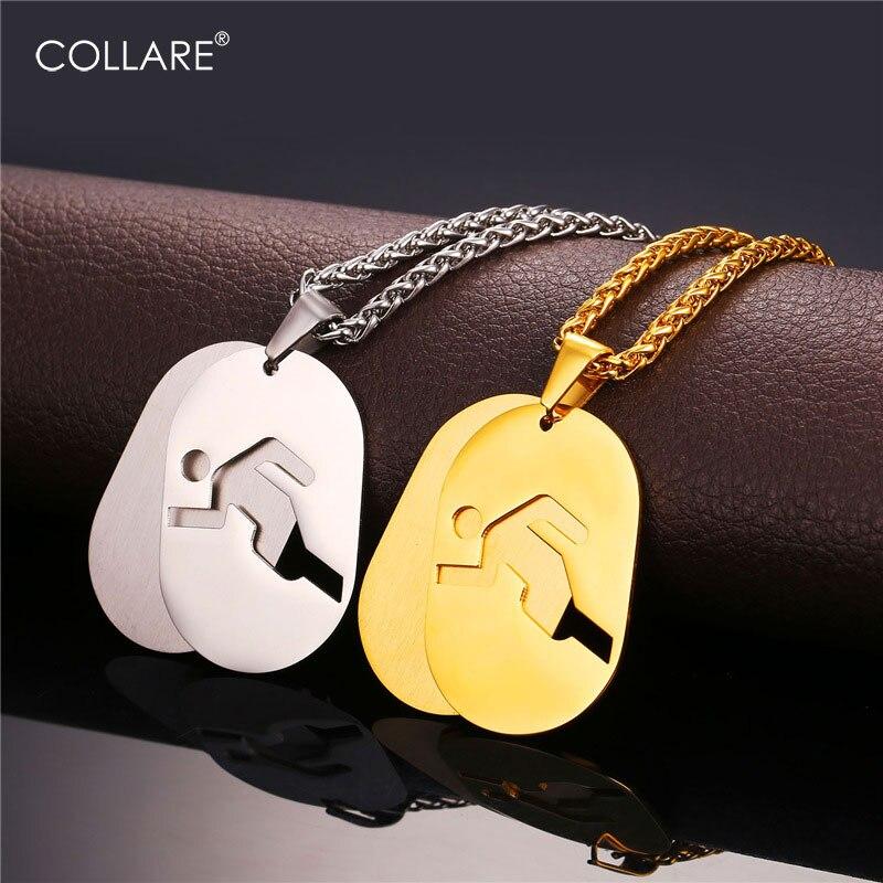 COLLAR COLGANTE de gimnasio deportivo de acero inoxidable de Color dorado con Etiqueta de perro para hombre, collares y colgantes para Fitness P930
