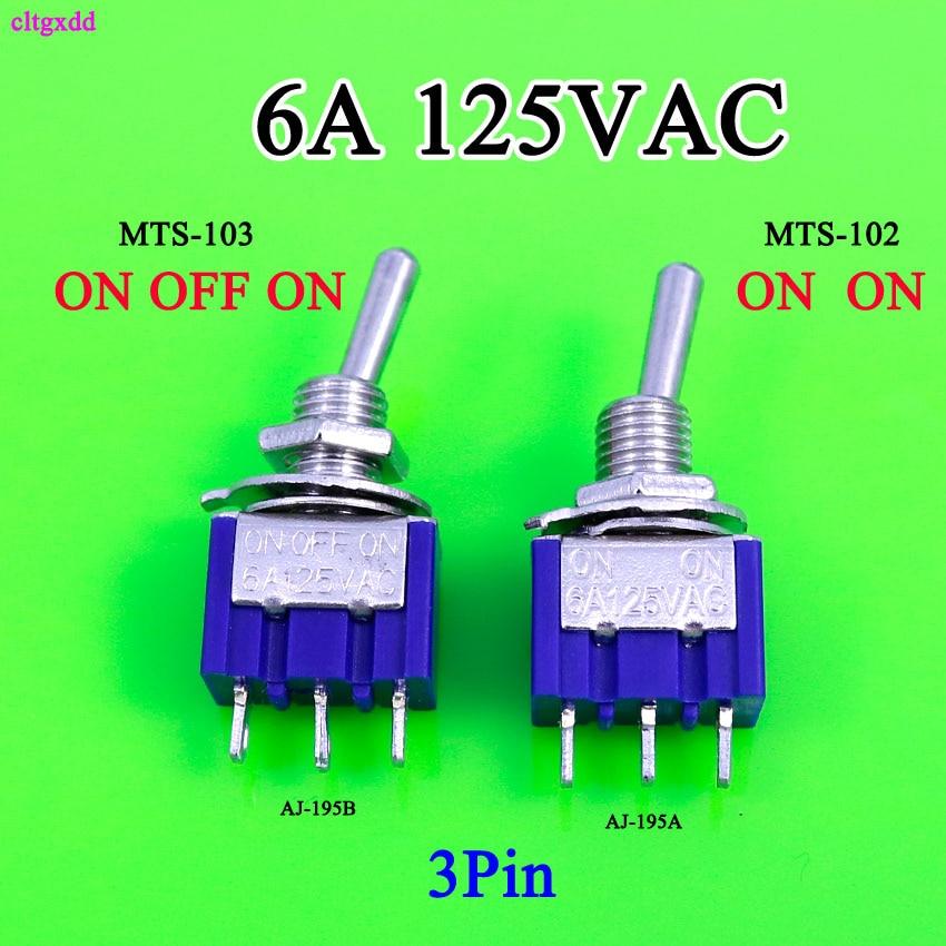 Cltgxdd 1 pcs Mini MTS-102 MTS-103 3-Pin G107 SPDT ON-ON-OFF-ON 6A 125 V Interruptores 3A250VAC