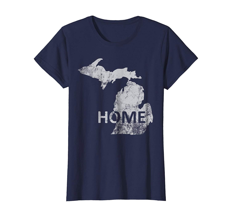 Home-Michigan T-Shirt de Manga Curta de Desconto de 100% Algodão T Camisa Imprimir T Shirt Dos Homens de Manga Curta top tee
