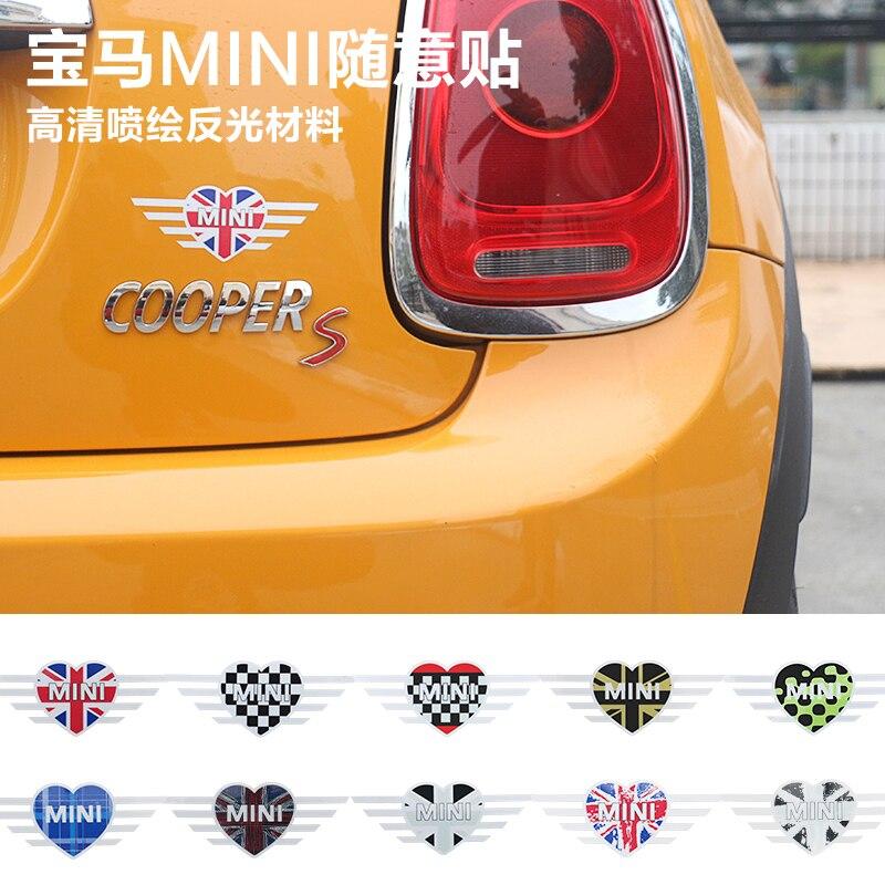 Union Jack LOVE MINI car Stickers Emblem Decals For BMW Mini Cooper Countryman Clubman F55 F56 R55 R56 R60 F60 Car Accessories